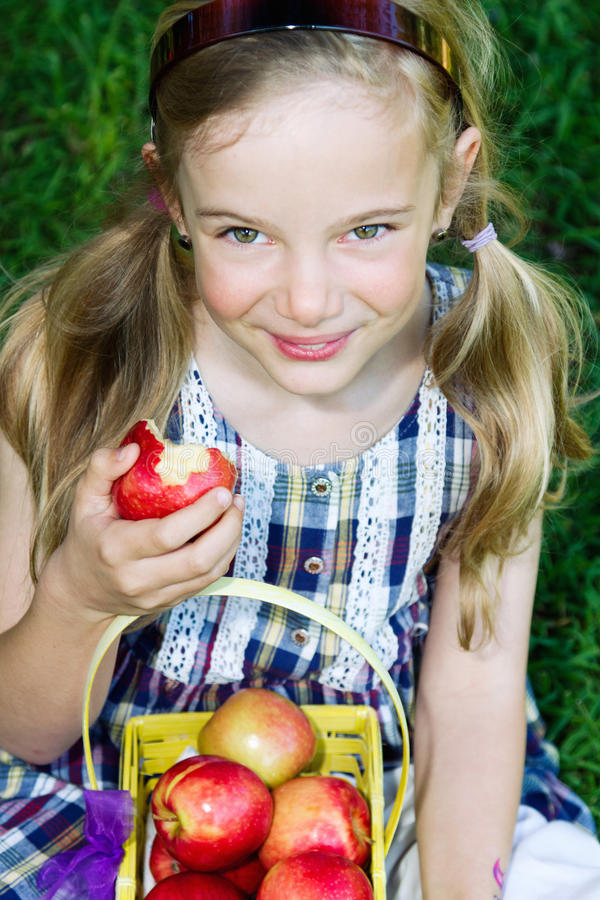 Girl with apples. A beautiful little girl with a basket of apples stock image