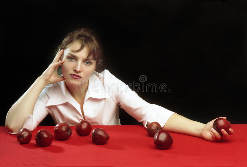 Download A girl and the apples stock photo. Image of girl, mood - 517120
