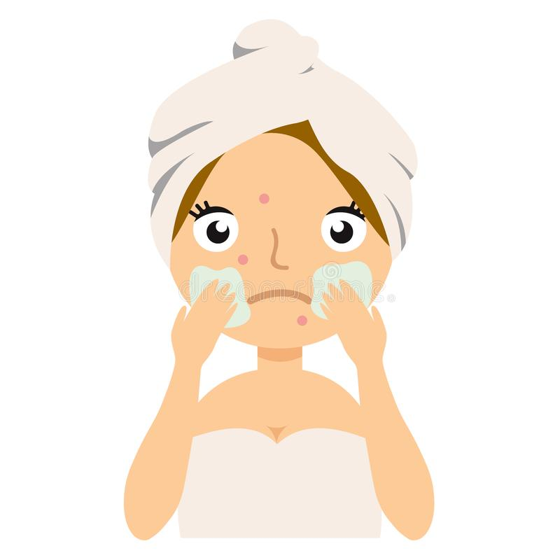 Girl applies cosmetic mask on her face, home remedies, skin problems solution.Vector stock illustration. Girl applies cosmetic mask on her face, home remedies stock illustration
