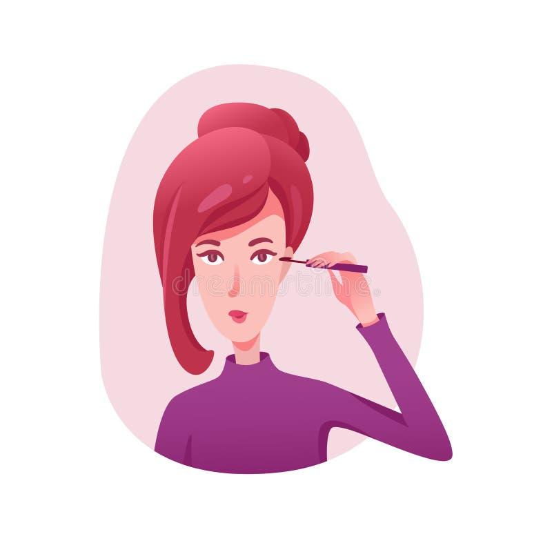 Girl applying mascara flat illustrations stock illustration