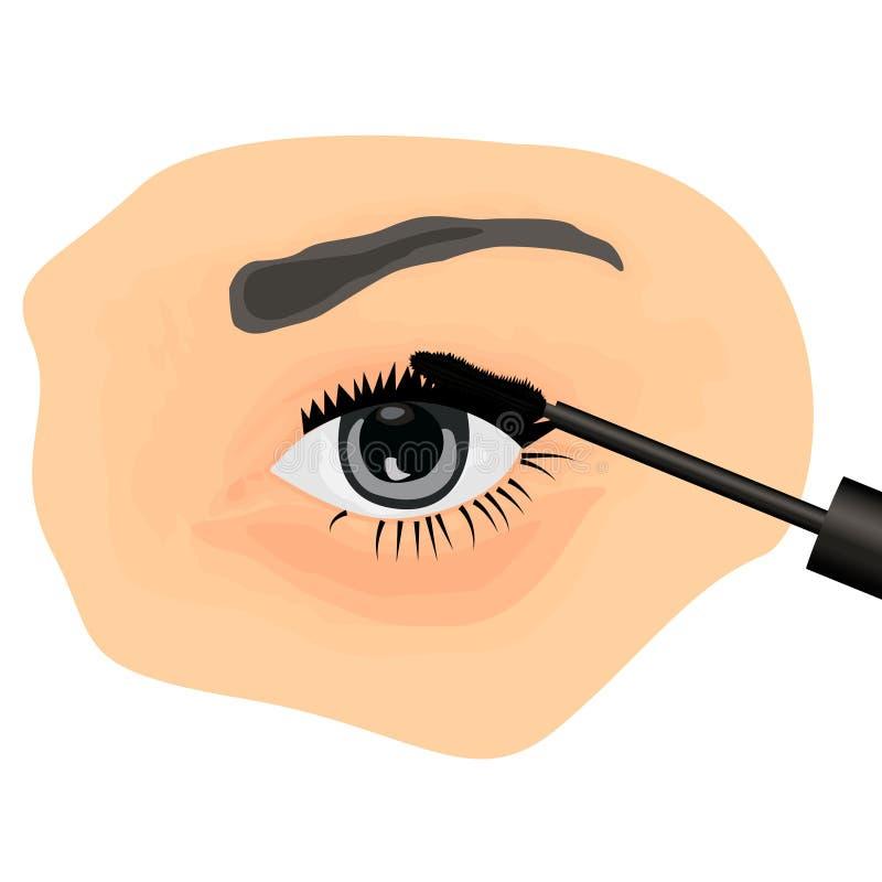 A girl applying mascara on to her eye. Vector illustration stock illustration