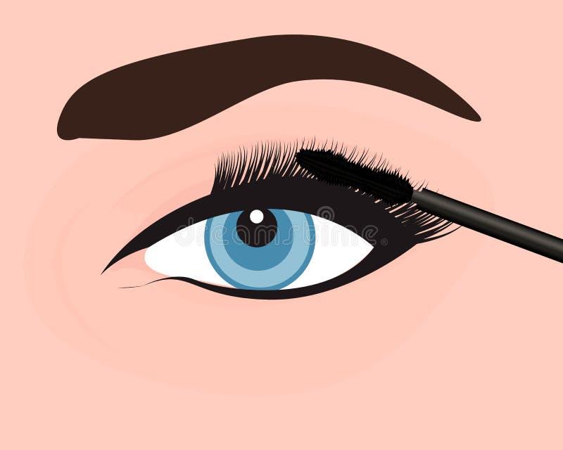 A girl applying mascara on to her eye. Vector illustration royalty free illustration