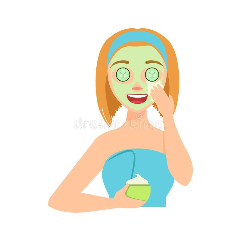 Girl Applying Natural Cucumber Cream Facial Mask, Woman With Closed Eyes Doing Home Spa Procedure Illustration royalty free illustration