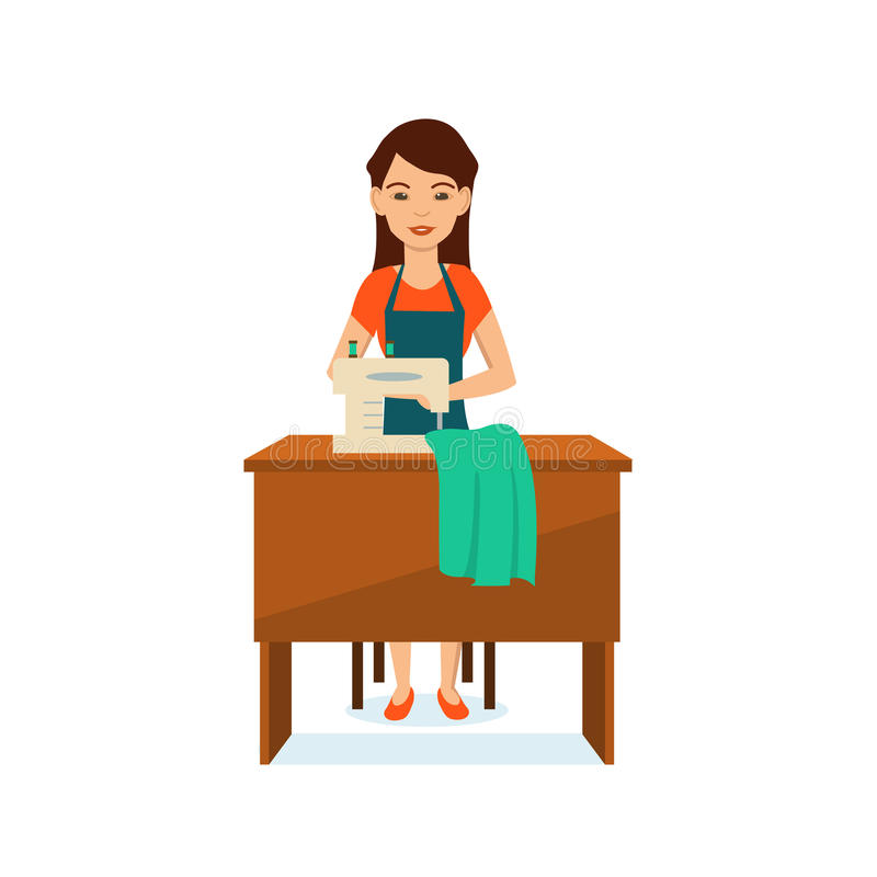 Girl in apron seamstress, sitting at table, to sewing machine. stock illustration