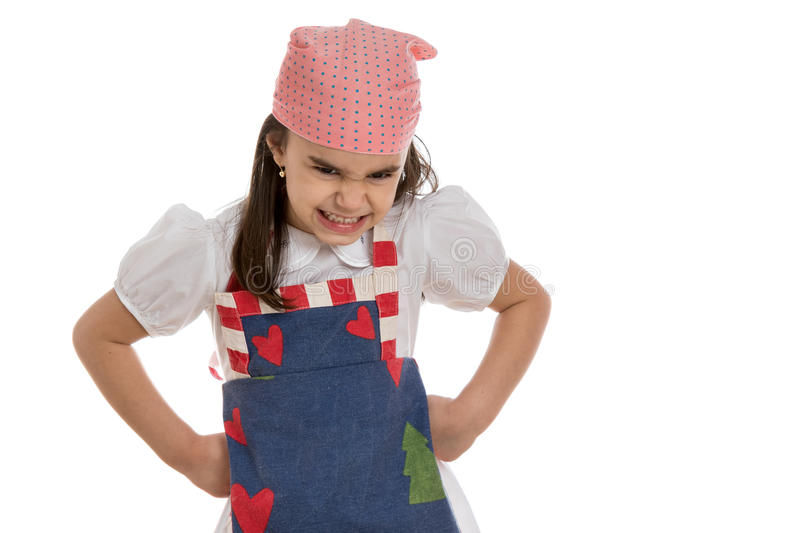 Girl in apron royalty free stock images