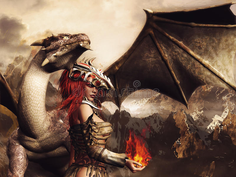 Girl in armor and a dragon stock illustration