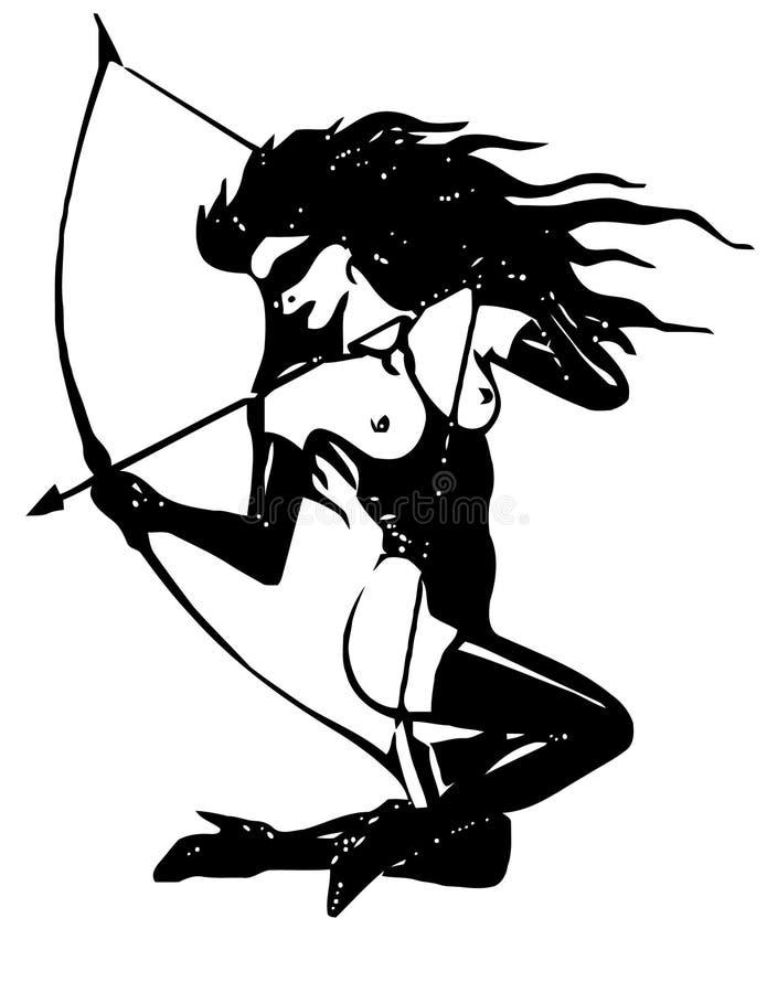 Girl with arrow stock photography