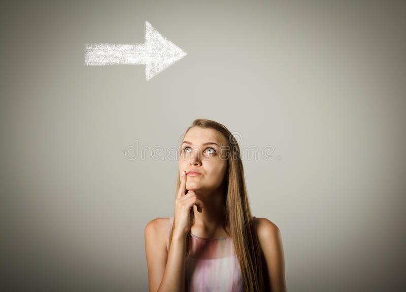 Girl and arrow. royalty free stock photography