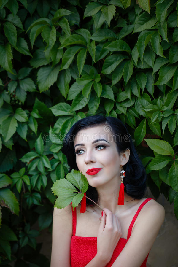 Girl in art deco style. Retro portrait. Attractive girl in red dress. The girl brunette. Portrait on a background of green grapes. Art Deco and Art Nouveau. The royalty free stock image