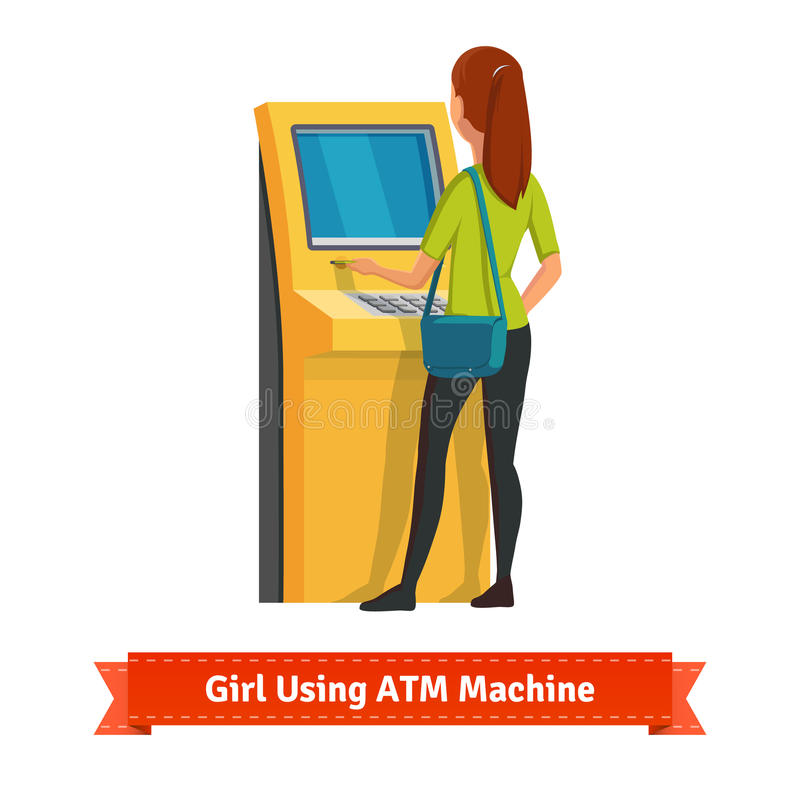 Free Girl At ATM Machine Doing Deposit Or Withdrawal Stock Image - 64566211