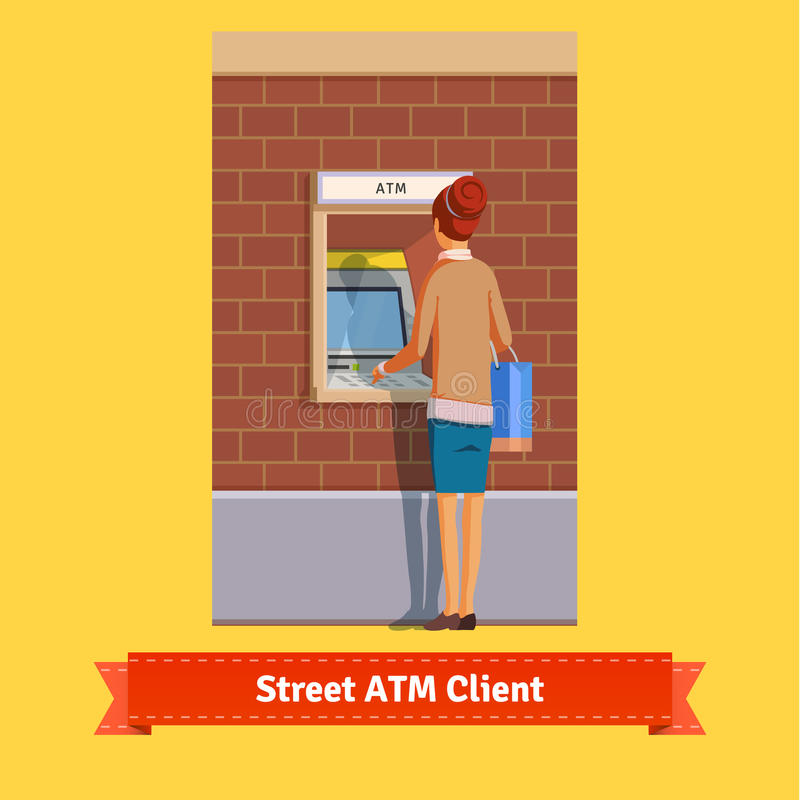 Free Girl At ATM Machine Doing Deposit Or Withdrawal Royalty Free Stock Photos - 65616738