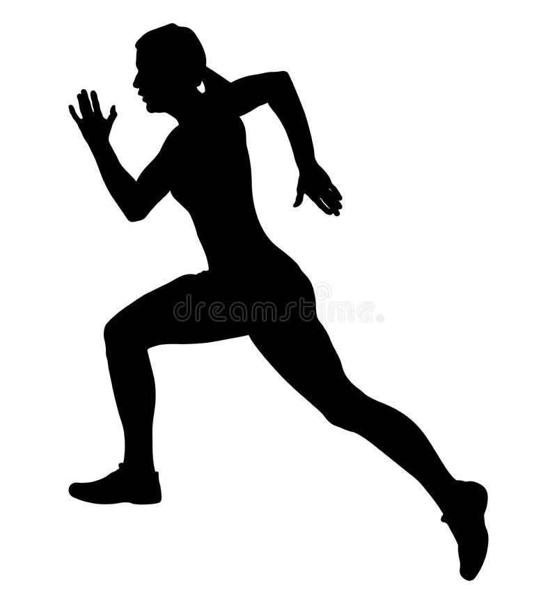 Girl athlete runner. Black silhouette girl athlete runner fast running royalty free illustration