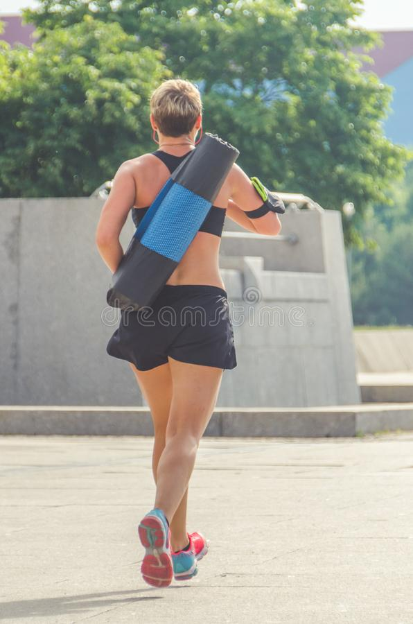 Athlete summer day, running stock photography