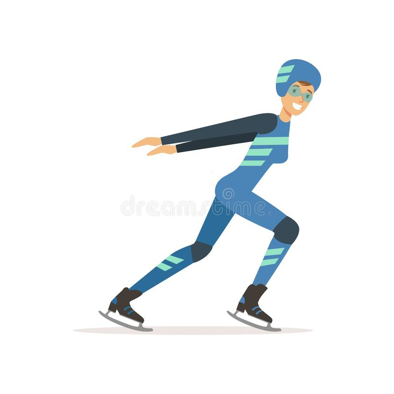 Girl athlete taking part in speed skating competition. Winter sport. Woman in professional outfit glasses, overalls vector illustration