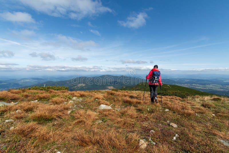 Girl athlete on top of the mountain. Europe stock photos