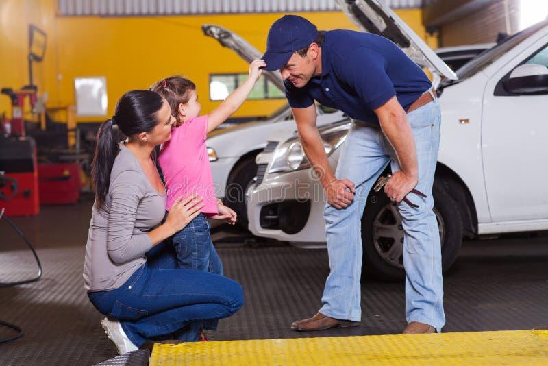 Girl auto mechanic royalty free stock photo