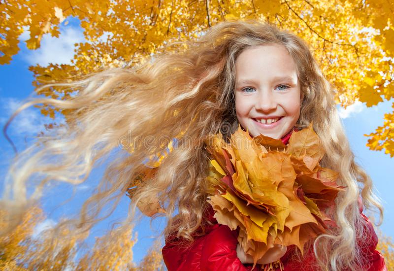Girl at autumn royalty free stock image