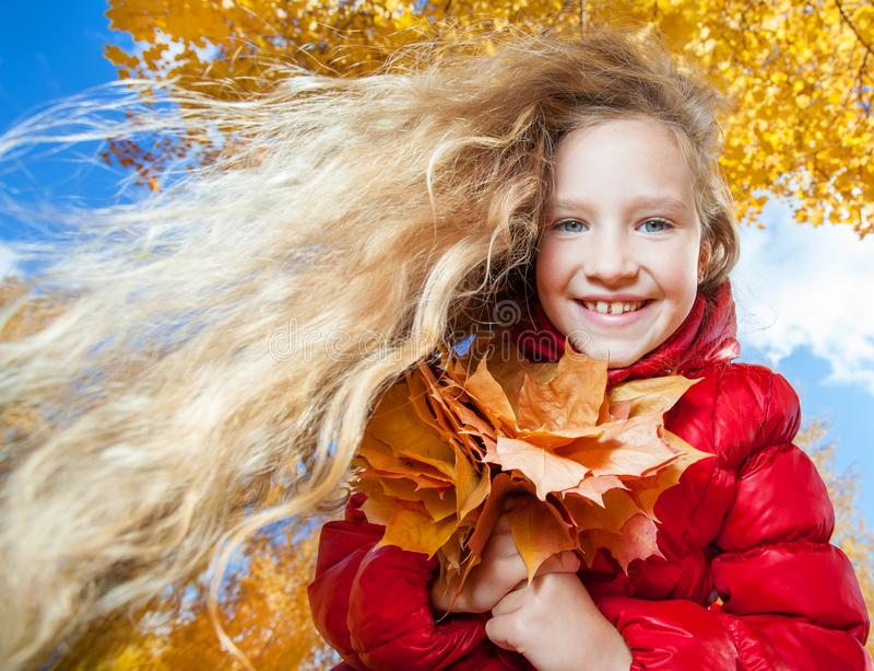 Little child at autumn royalty free stock photos