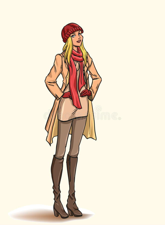 Girl in autumn dress. Standing slender young beautiful blonde in full length. Girl is dressed in autumn clothes - dress, raincoat, cap, gloves, boots. color stock illustration