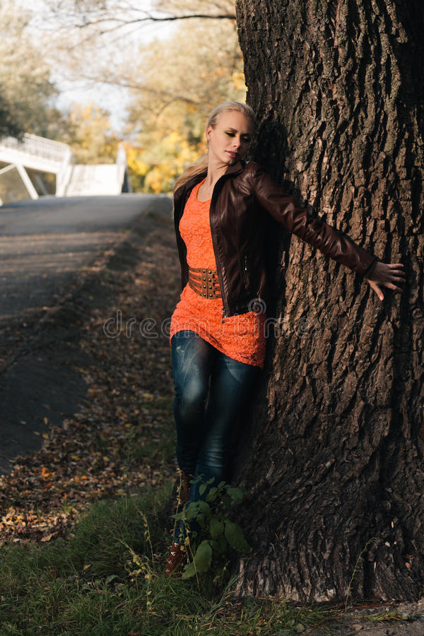Download Girl in autumn forest stock image. Image of female, blond - 27009751