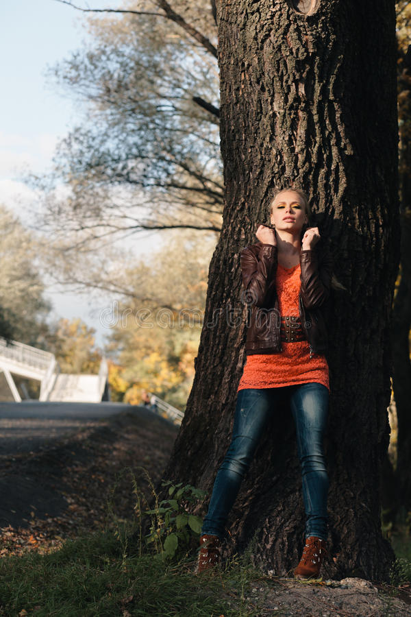 Download Girl in autumn forest stock photo. Image of tree, fall - 27009798