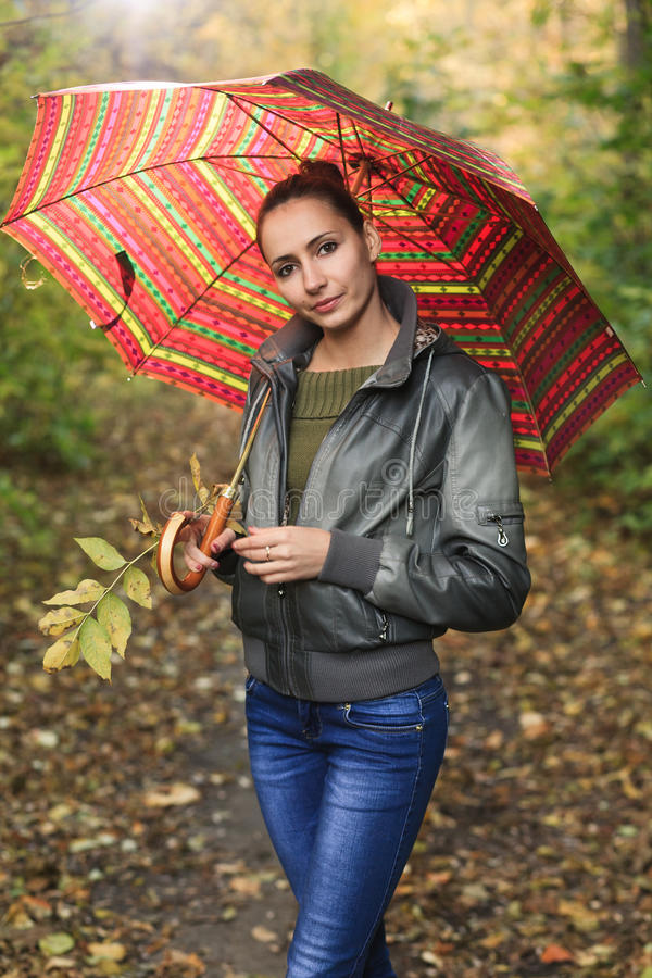 Download Girl in autumn forest stock image. Image of brunette - 27011305