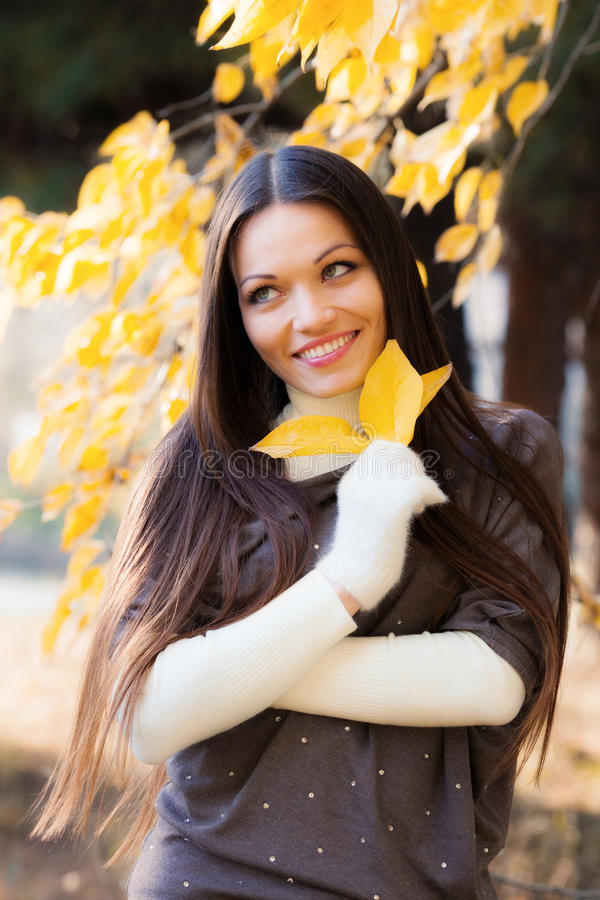 Download Girl in autumn garden stock image. Image of happiness - 31881637