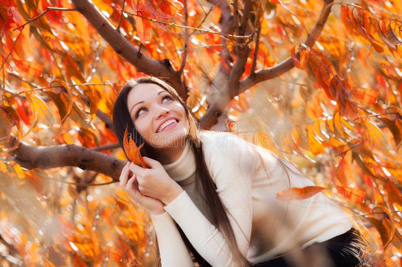 Download Girl in autumn garden stock image. Image of nature, autumn - 31881399
