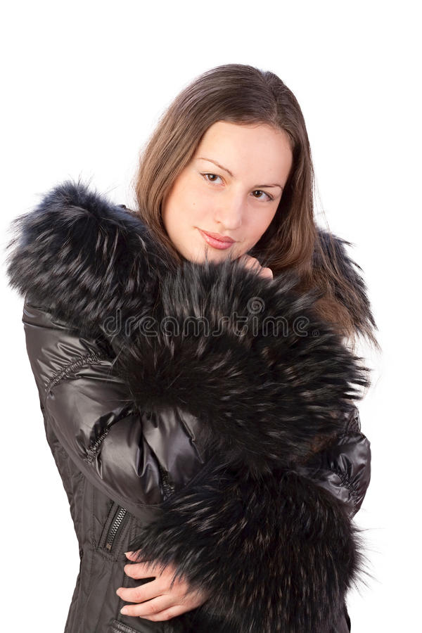 Girl in autumn jacket stock image