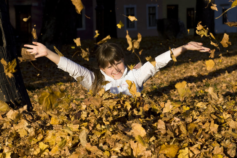 The girl on autumn leaves. Cute smiling girl having fun in leaves in autumn stock photo