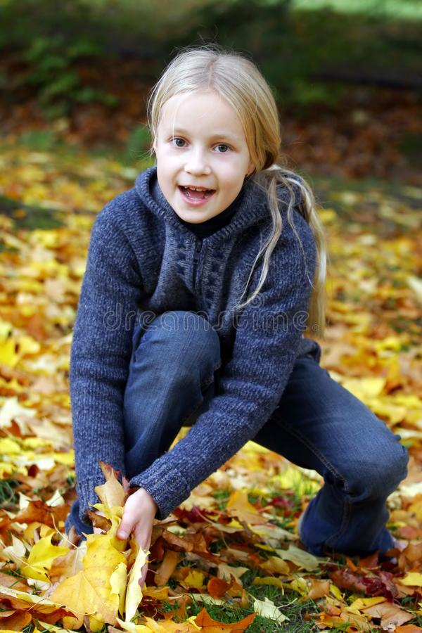 Download Girl in the autumn park stock image. Image of fall, happy - 17844853