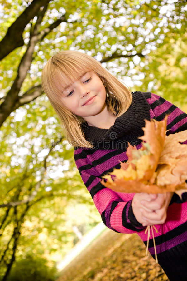 Girl in the autumn park royalty free stock photos