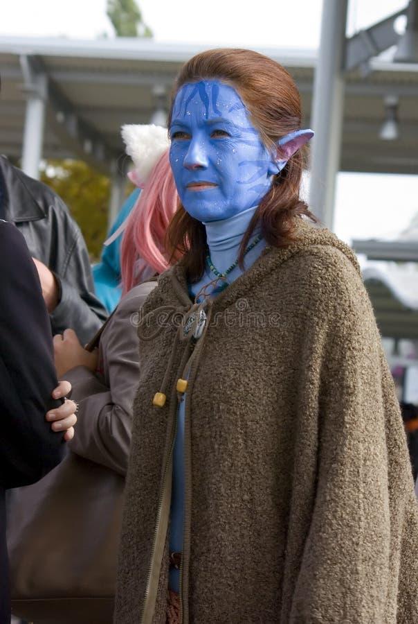 Girl in Avatar cosplay stock photo