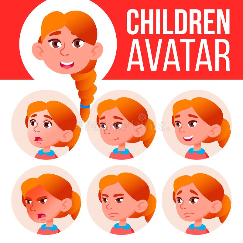 Girl Avatar Set Kid Vector. Redhead. High School. Face Emotions. Emotions, Emotional. Leisure, Smile. Cartoon Head stock illustration