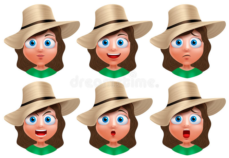Girl avatar vector character. Set of portrait of young girl face stock illustration