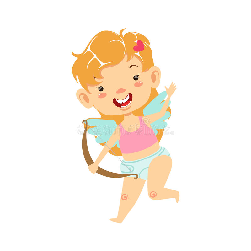 Girl Baby Cupid With Bow, Winged Toddler In Diaper Adorable Love Symbol Cartoon Character. Happy Infant Cupid Saint Valentines Day Flat Vector Illustration stock illustration