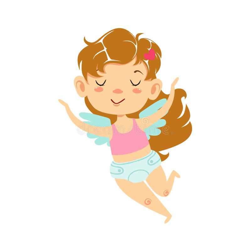 Girl Baby Cupid Flying, Winged Toddler In Diaper Adorable Love Symbol Cartoon Character. Happy Infant Cupid Saint Valentines Day Flat Vector Illustration royalty free illustration