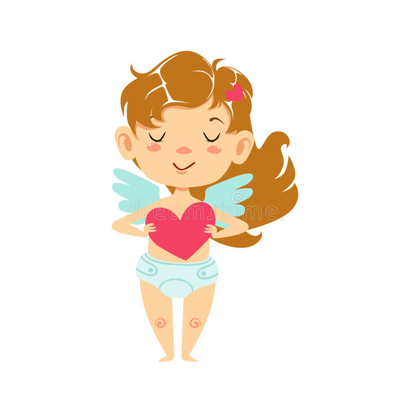 Girl Baby Cupid Holding A Heart, Winged Toddler In Diaper Adorable Love Symbol Cartoon Character. Happy Infant Cupid Saint Valentines Day Flat Vector royalty free illustration