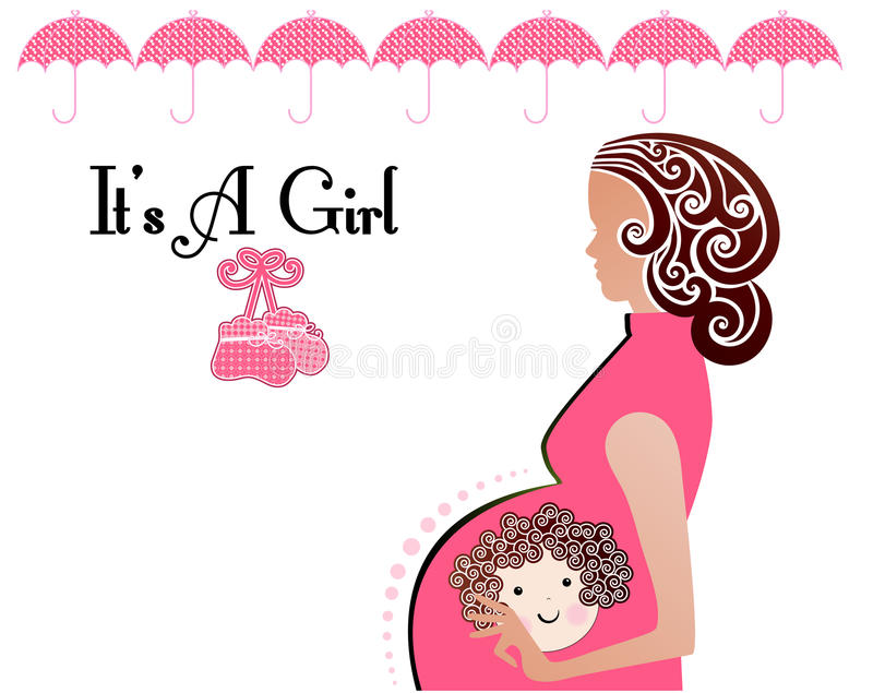 It is a girl Baby Mother booties stock illustration