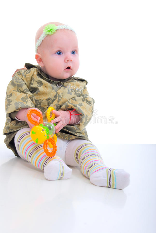 Download Girl Baby With Orange Toy. stock image. Image of beautiful - 11829625