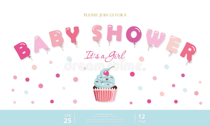 Girl baby shower cute template. Party invitation card with balloon letters, cupcake and confetti. Pastel pink and blue vector illustration