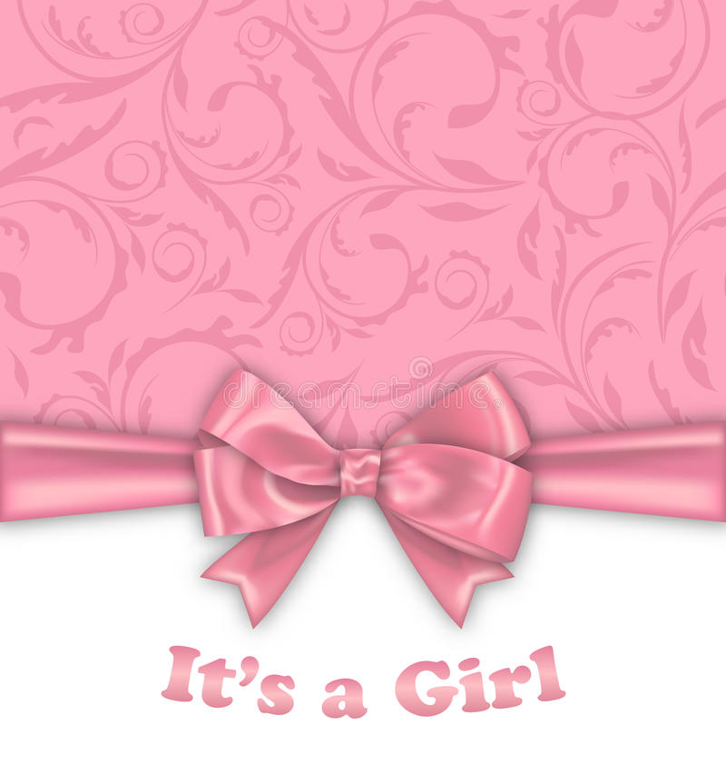 Girl Baby Shower Invitation Card with Pink Bow vector illustration