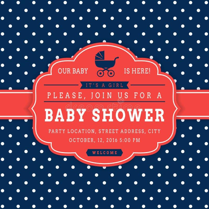 Girl baby shower. Vector card. vector illustration