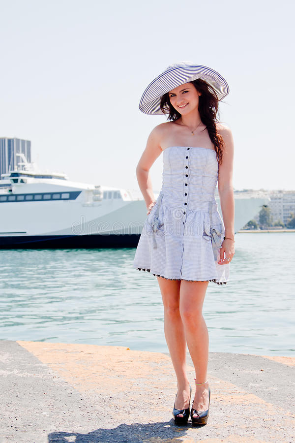 Download The Girl On The Background Of The Ocean Liner Royalty Free Stock Photography - Image: 24817897