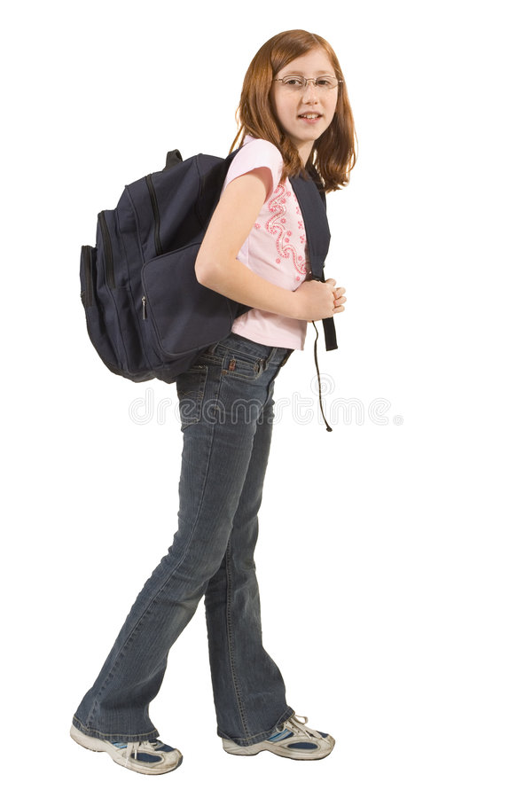 Download Girl with backpack stock image. Image of juvenile, back - 1915037
