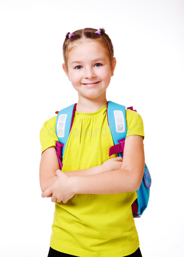 Download Girl with  backpack stock image. Image of junior, aged - 21923841