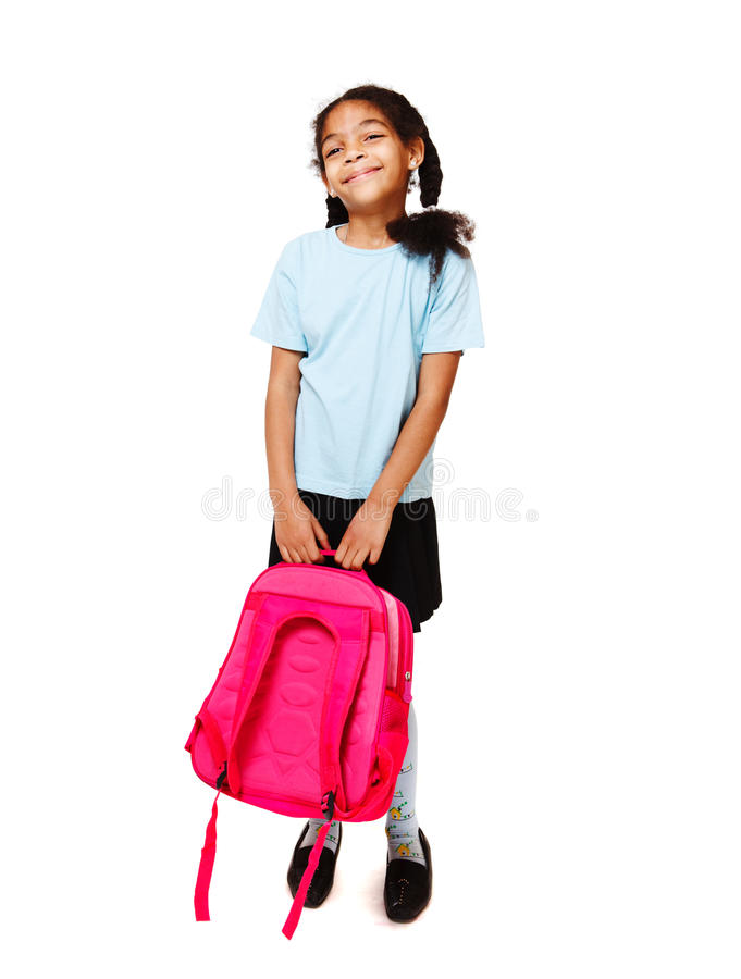 Girl With A Backpack Stock Image
