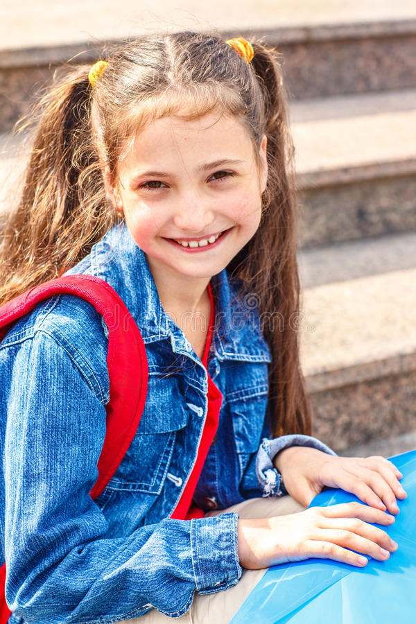 Girl With A Backpack Stock Photography