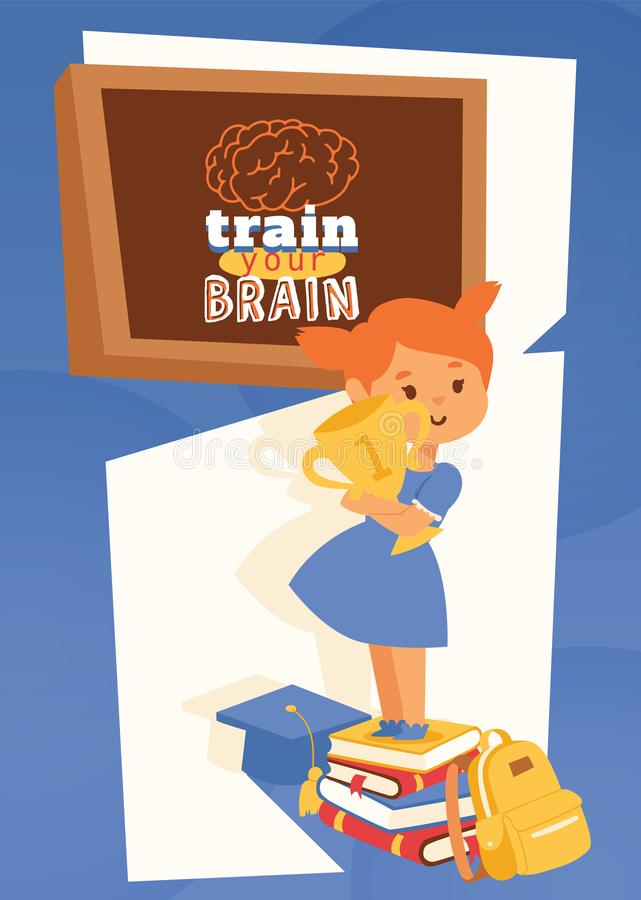 Girl with backpack supplies and learning accessories poster, banner vector illustration. Train your brain concept stock illustration