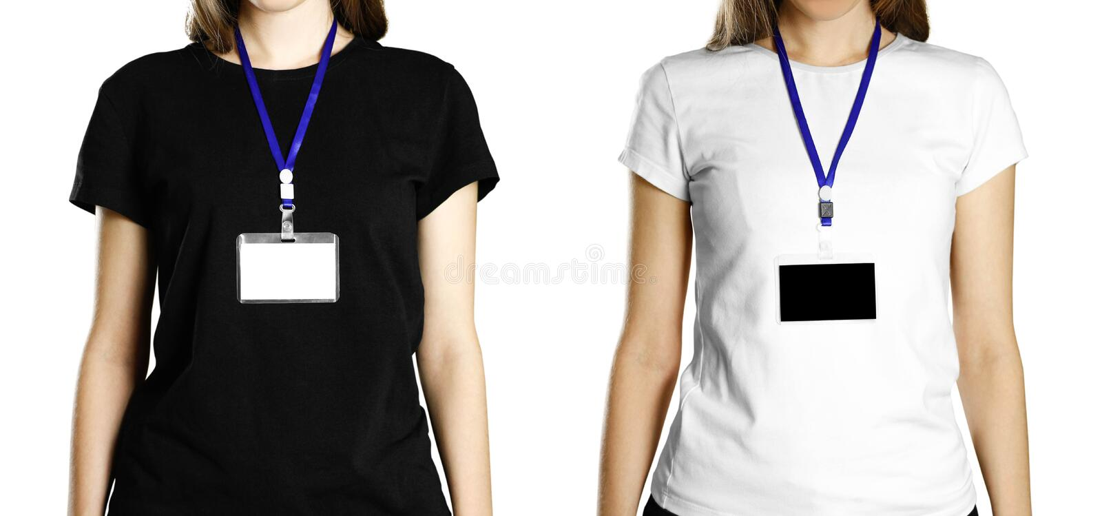 Girl with a badge on her chest. Close up. Isolated background stock images